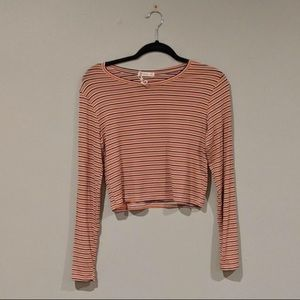 Cotton On Striped Long Sleeved Crop Top